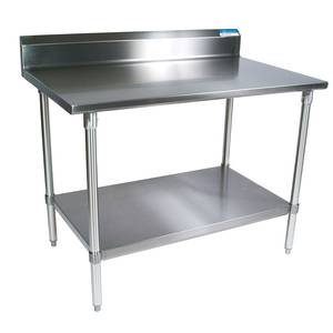 BK Resources 36x 24 Work Table 18G Stainless Steel Top w/5 backsplash - SVTR5-3624