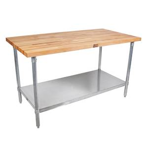 John Boos 96x30 Work Table 1-3/4 Laminated Flat Top Galvanized Legs - HNS13