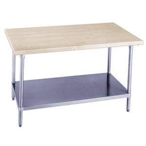 Advance Tabco 48W x 30D Wood Top Work Table w/ Galvanized Undershelf - H2G-304