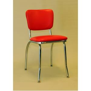All About Furniture Chrome Metal Retro Restaurant Chair Grade 5 Vinyl Seat, Back - MC329 GR5