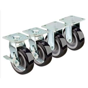 Krowne Metal Set of 4 Extra Heavy Duty 4-1/2x 4-1/8 Plate Casters - 28-180S