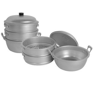 Thunder Group 11-3/8 dia. x 12-1/2H Aluminum Steamer Basket Set - ALST004
