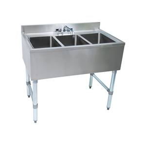 John Boos Slimline 40in x 18in Three Compartment Underbar Sink - EUB3S40-X