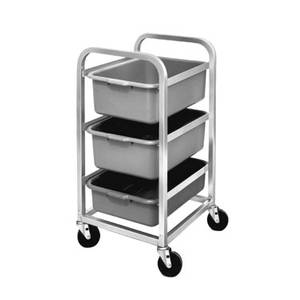 Channel Manufacturing BBC-3 Mobile Aluminum Bus Utility Cart w/ Three 5in deep Tubs