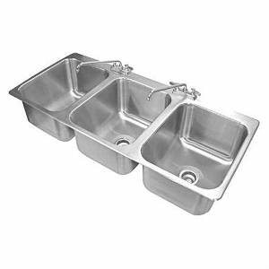 Advance Tabco 3 Compartment Drop-In Sink 10x14 Bowls w/ Two Faucets - DI-3-10-1X