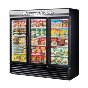 True 72 Cu.Ft Three Section Glass Door Commercial Freezer - GDM-72F-HC-LD
