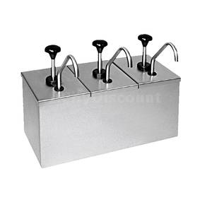 Carlisle Insulated Topping Rail w/ 3 Stainless Condiment Pumps - 386230IB