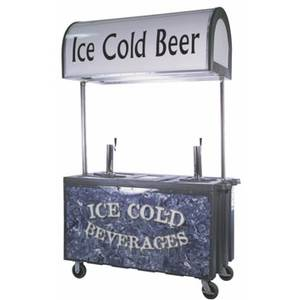 IRP IRP-2060C 30 x 59 Portable Beverage Bar Cart w/ 2 Beer Towers & Canopy