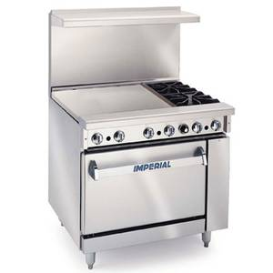 Imperial Range IR-2-G24 36in Restaurant 2 Gas Burner Range w/ 24in Griddle & Oven