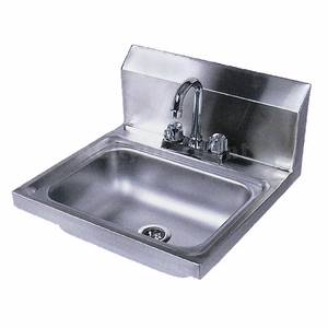 BK Resources BKHS-D-1410-P Wall Mount Hand Sink 14x10x5 w/ 4 Deck Mount Faucet