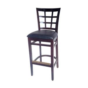 AAA Furniture 527BS Large Black Vinyl Saddle Seat Restaurant Wood Bar Stool