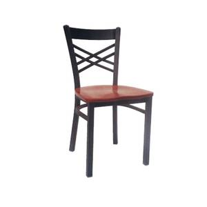 AAA Furniture Restaurant Wrinkle Back Metal Chair w/ Black Vinyl Seat - 310