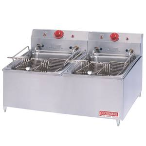 GMCW ELT500 Counter Top 30lb Electric Fryer W/ 4in Legs & 4 Baskets