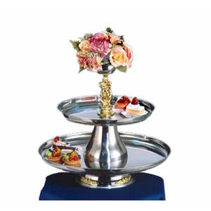 Apex Fountains V.I.P. II 2 Tier Round Tray Appetizer Dessert Food Stand - VIP24-18-G