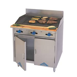 Comstock Castle F33-36B 36 Gas Range w/ 36 Raised Griddle Broiler & Storage Base