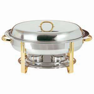 Update 6 Quart Oval Chafing Dish Buffet Chafer w/ Gold Accent - DC-3