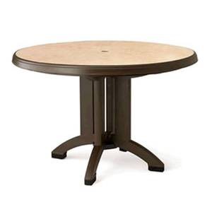Grosfillex Pietra 38in Round Folding Patio Table Bronze Mist