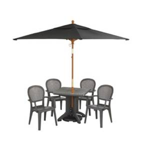 Grosfillex 9ft Push Up Patio Wooden Market Umbrella 2 Pole