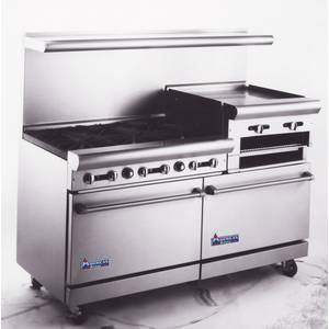 American Range 60 6 Burner w 24in Raised Griddle 1 Std & 1 Convection Oven - AR6B-24RGCR