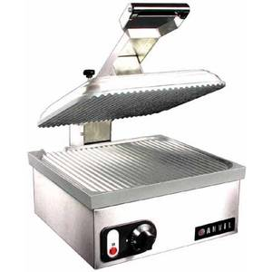 Anvil America Ribbed Commercial Panini Grill Sandwich Press - TSA7209
