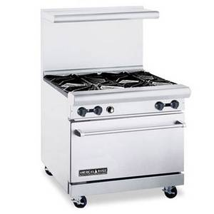 American Range 36 Commercial Gas Range w/ 4 Wide Burners & 32 Oven - ARW36-4WB