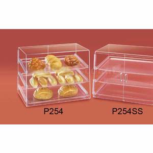 Cal-Mil Acrylic Pastry Display Case 3 Shelf w Slanted Front Doors - P254SS