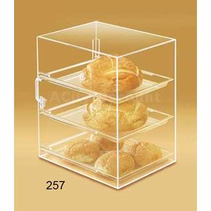 Cal-Mil Acrylic Pastry Display Case Straight Front One Door 3 Shelf - 257