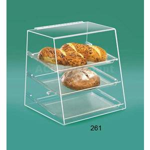 Cal-Mil 261 Acrylic Pastry Display Case Slant Front w Rear Door 3 Shelf