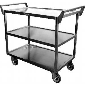 C-2333 Heavy Duty 40 x 20 Utility Cart 3 Tier Stainless 5 Casters