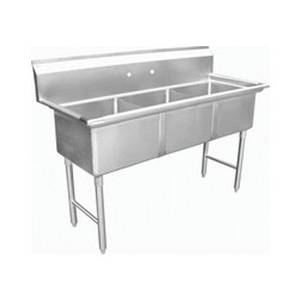 SH24243N Commercial Three Compartment Sink 24 x 24 x 14 NSF