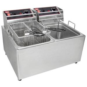 GMCW EL2X25 Electric Deep Fryer Counter Top W/ Two 15lb Removable Tanks