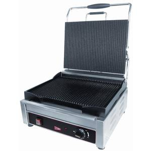 GMCW Commercial Single Panini Grill 14 x 11 Grooved Surface - SG1LG