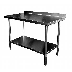 WT-EB2424 24 x 24 Work Prep Table Stainless Top w/ 1.5in Backsplash