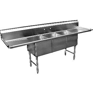 SH24243D 3 Comp Sink HD 16ga W/ 24x24x14 Bowls & Two 24 Drainboards