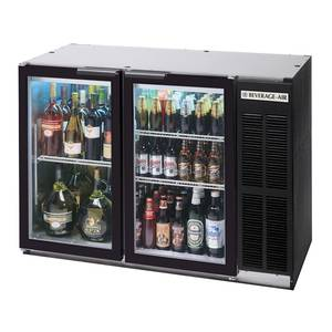 Beverage-Air 12.1 CuFt Two Section Black Finish Shallow Depth Bar Cooler - BB48GY-1-B