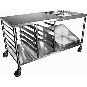 DN-TBL Donut Table 34 x 66 Stainless w Glazing Dipper & Sugar Pan