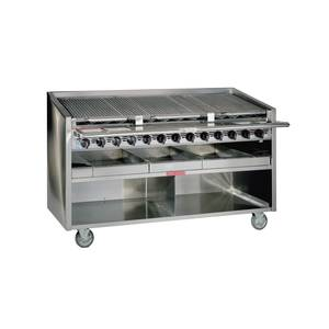 Magikitch'n 24 S/S Countertop Gas Radiant Charbroiler w/ Cabinet Base - FM-RMB-624
