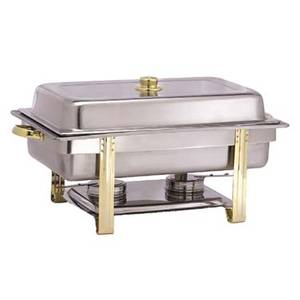 Adcraft GRV-8 8 Quart Oblong Chafer Golden Riviera Chafing Dish Stainless