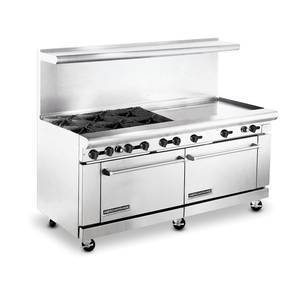 American Range 72 Commercial 6 Burner Range w 36 Raised Griddle & 2 Ovens - AR6B-36RG