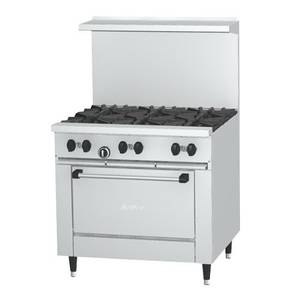 Garland X36-6R Sunfire 36 Gas Restaurant Range w/ 6 Burners & 1 Std Oven