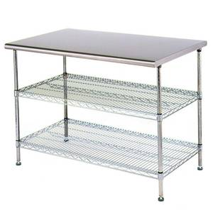 Eagle Group AdjusTable Work Table 30 x 48 x 34 Stainless Steel Work Top - T3048EBW