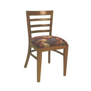 American Tables & Seating 870-GR4 Ladder Back Side Chair w/ Beech Frame & Upholstered Seat