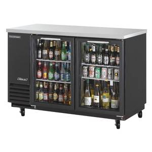 Turbo Air TBB-2SG 19cf Back Bar Cooler Black Vinyl Exterior with 2 Glass Doors