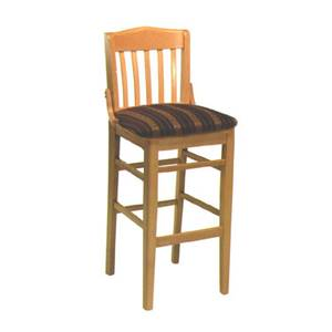 American Tables & Seating Slat Back Bar Stool w/ Beech Frame & Upholstered Seat - 930-BS-GR4