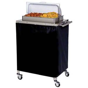 Cadco Double Buffet Warming Cart W/ 2 Half Stainless Steam Pans - CBC-2RT