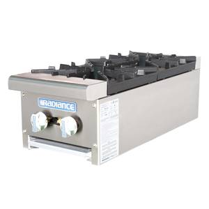 Radiance TAHP-12-2 12 Counter Top 2 Burner Gas Commercial Hotplate 64,000 btu