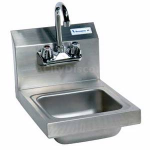 BK Resources BKHS-W-SS-P Splash Mount Hand Sink 12x16x12 w/ Faucet & Drain