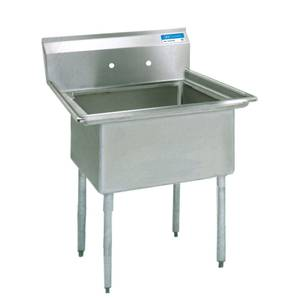 BK Resources BKS-1-1620-12 1 Compartment Stainless Sink NSF w/ 16 x 20 x 12 D Bowl