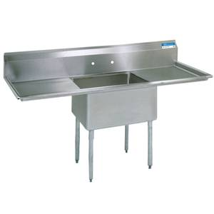 BK Resources 1 Compartment Sink S/s w/ 16x20x12D Bowl & 2 Drainboards - BKS-1-1620-12-18T