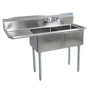 BK Resources BKS-2-1620-12-18 Two Compartment Stainless Sink w/ 16x20 x12D Bowls w/ Dboard